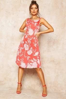 boohoo Floral Print Cowl Neck Slip Dress