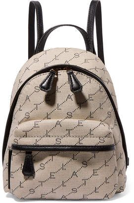 Stella McCartney Mini Embroidered Faux Leather-trimmed Canvas Backpack - Off-white