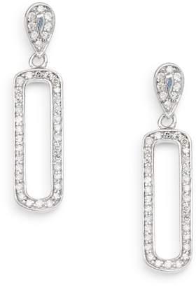 Effy 0.39 TCW Diamond & 14K White Gold Oval Drop Earrings