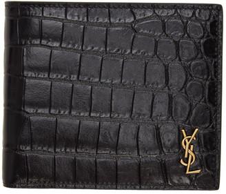 Saint Laurent Black Croc Tiny Monogramme East/West Wallet