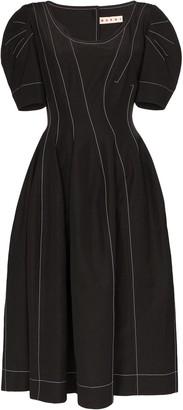 Marni Pouf Sleeve Midi Dress