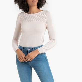 La Redoute Collections Cotton Mix Openwork Jumper with Boat Neck