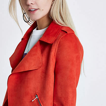 River Island Womens Petite orange faux suede crop trench jacket