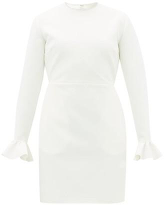 MSGM Crystal-embellished Ruffle-cuff Crepe Dress - Ivory