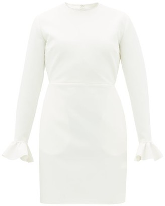 MSGM Crystal-embellished Ruffle-cuff Crepe Dress - Womens - Ivory