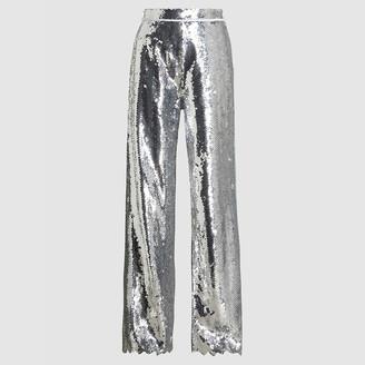 Dima Ayad Metallic Chevron Sequinned Wide-Leg Trousers Size M