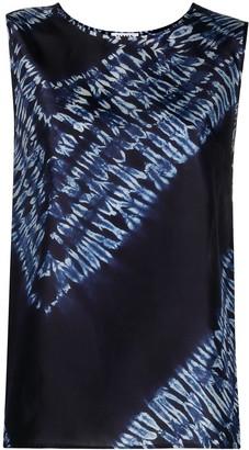 P.A.R.O.S.H. Tie-Dye Sleeveless Silk Blouse