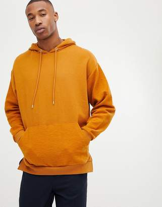 Asos Design DESIGN oversized hoodie with reverse brush back sleeves and pocket-Brown