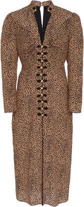Saloni Andrea Button-Embellished Printed Silk Midi Dress