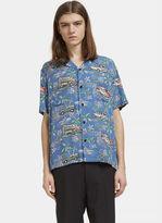 Saint Laurent Men's Classic Hawaiian Short Sleeved Shirt In Blue