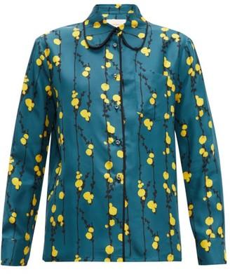 La DoubleJ Rodeo Floral Print Silk Twill Shirt - Womens - Green Print