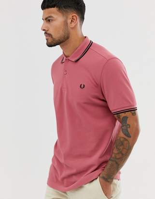 Fred Perry twin tipped polo in red/ black