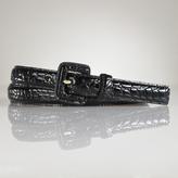 Faux Croc Patent Belt