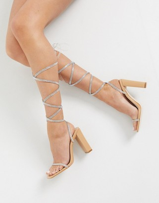 BEIGE Simmi London Hera embellished ankle tie sandals in