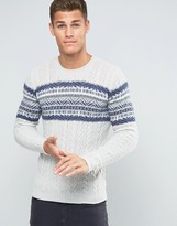 Benetton Cable Knit Jumper With Fair Isle Panel