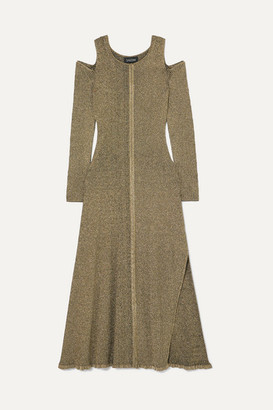 Saloni Venyx Cold-shoulder Metallic Ribbed-knit Midi Dress - Gold