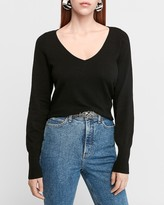 Express Deep V-Neck Balloon Sleeve Sweater