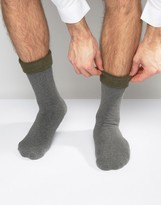 Asos Slipper Socks In Charcoal With Khaki Roll Top