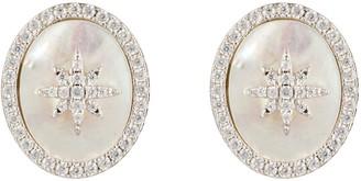 Latelita Starburst Oval Stud Earring White Mother Of Pearl Silver