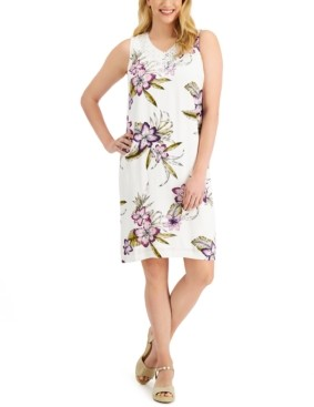 JM Collection Tropica Floral-Print Shift Dress, Created for Macy's