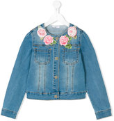 MonnaLisa embroidered flower denim jacket - kids - Cotton/Polyester/Spandex/Elastane - 9 yrs