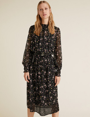 Marks and Spencer Ditsy Floral Midi Waisted Dress