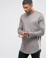 Asos Super Longline Long Sleeve T-Shirt With Curve Hem In Gray