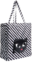 Lulu Guinness Kooky Cat Foldaway Shopper, Black