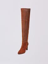 Diane von Furstenberg Jolet Perforated Suede Over The Knee Boot