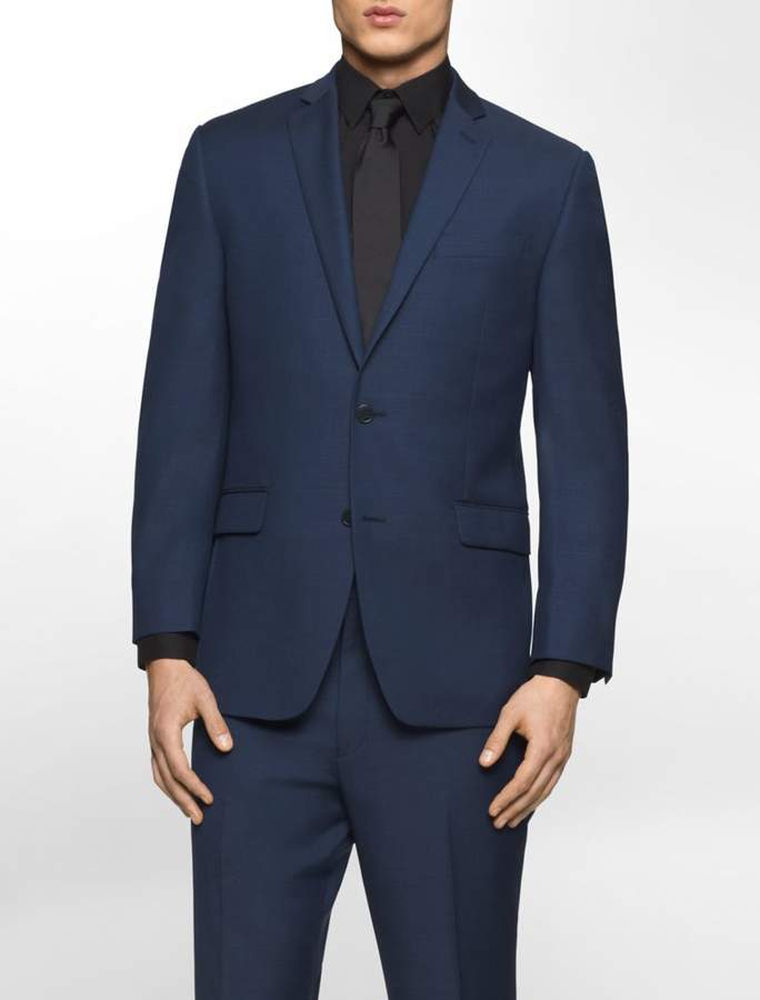 Calvin Klein classic fit navy plaid suit jacket