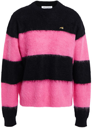 Bella Freud Striped Brushed Mohair-blend Sweater