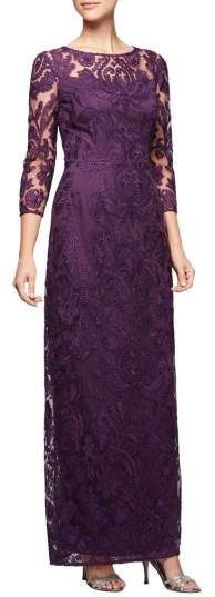 Alex Evenings Embroidered Column Gown