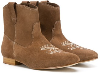 Bonpoint TEEN stitched logo cowgirl boots