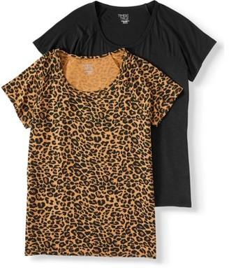 Time and Tru Women's Short-Sleeve Raglan T-Shirt, 2-Pack Bundle