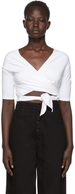 Alexanderwang.T alexanderwang.t White Stretch Jersey Double Layer Wrap T-Shirt