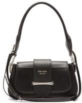 Prada Sidonie Saffiano And Smooth-leather Shoulder Bag - Womens - Black