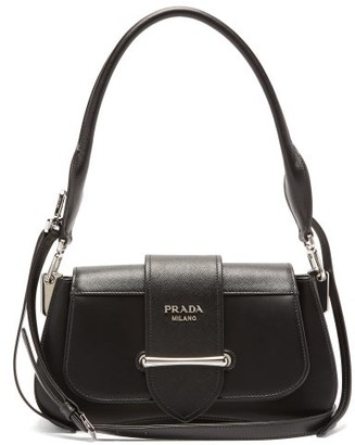 Prada Sidonie Saffiano And Smooth-leather Shoulder Bag - Black