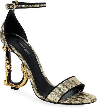Dolce & Gabbana Metallic Fabric Sandals with Logo Heel