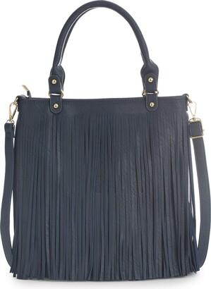 Big Handbag Shop Womens Tassel Handbag - Fringe Design Bag - Soft Stylish & Trendy Top Handle Shoulder Bag (Beige)