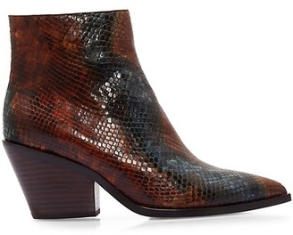 Paige Libby Snakeskin-Embossed Leather Ankle Boots
