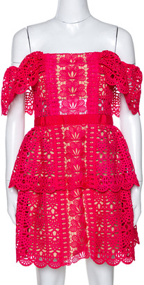 Self-Portrait Fuschia Pink Guipure Lace Off Shoulder Mini Dress M