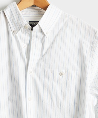 Todd Snyder Button Down Collar Light Blue Stripe Long Sleeve Shirt