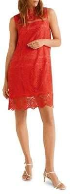 MANGO Embroidered Shift Dress