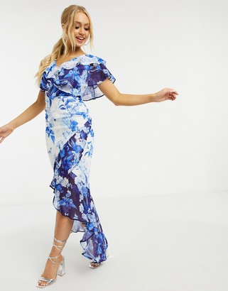 Lipsy ruffle detail maxi dress in mixed print in blue