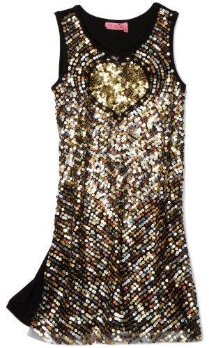 Haven Girl Girls 7-16 Gold Heart Sequins Dress