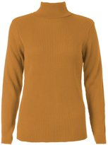 Forever Women's Long Sleeves Ribbed Polo Neck Stretchy Knitted Jumper