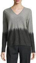 Lafayette 148 New York Two-Tone V-Neck Sweater, Smoke/Nickel