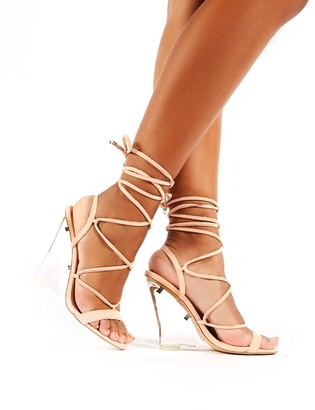 Public Desire Carnival Faux Suede Lace Up Perspex Wedge Heels