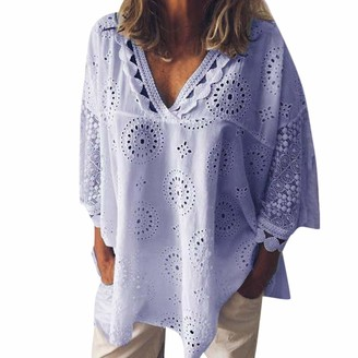 TWIFER Women Half Sleeve Cotton Linen Hollow Out Lace Loose Fit Batwing Sleeve Patchwork T-Shirt Blouse Tops Shirt Tee Top Holiday Vacation Travel (Purple UK-26/CN-5XL)