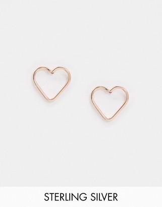 Kingsley Ryan cut out heart stud earrings in sterling silver rose gold plate